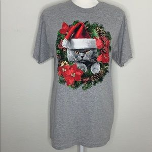 Cat in a Wreath Christmas Tee